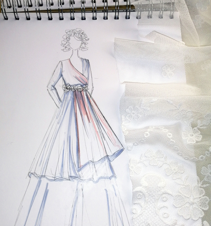 dibujo de vestido de novia a medida