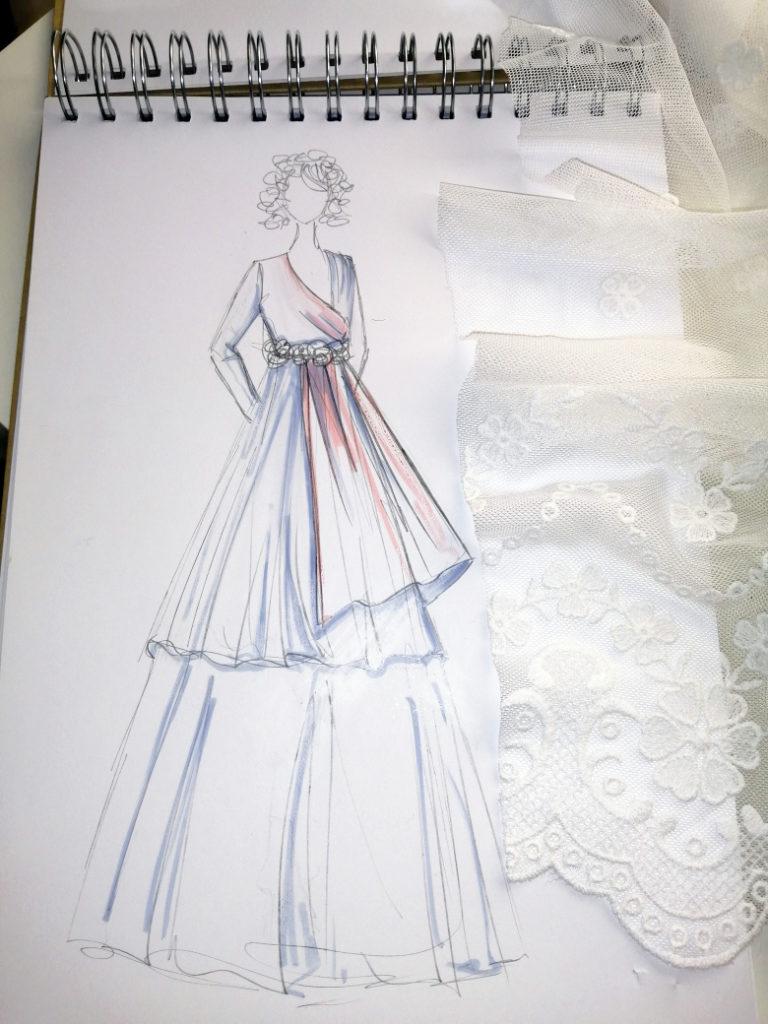 vestido de novia a medida madrid boceto