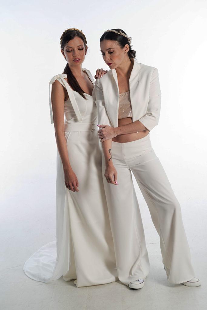traje de novia con pantalon