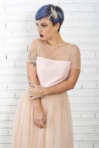 vestido de novia rosa corto