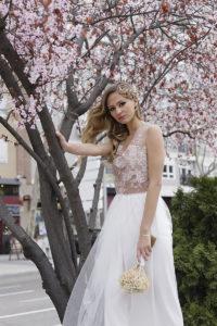 vestido de novia de encaje rosa