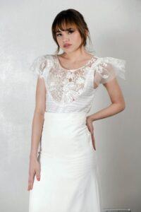 vestido de novia con encaje y tul